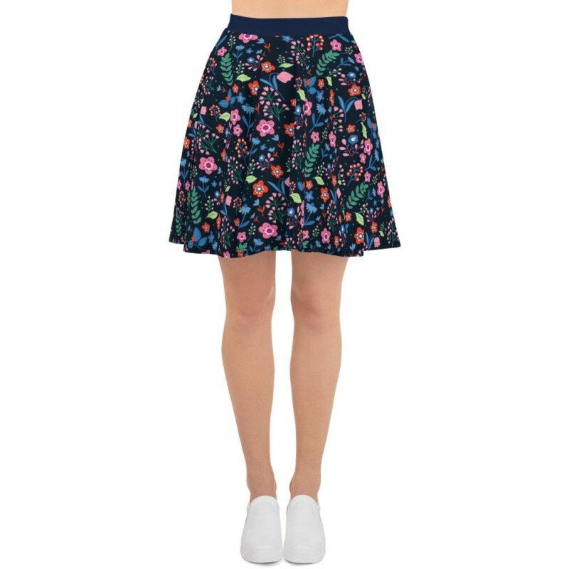 Navy Floral Printed Skater Skirt 1
