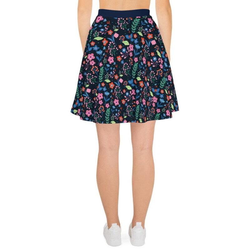 Navy Floral Printed Skater Skirt 2