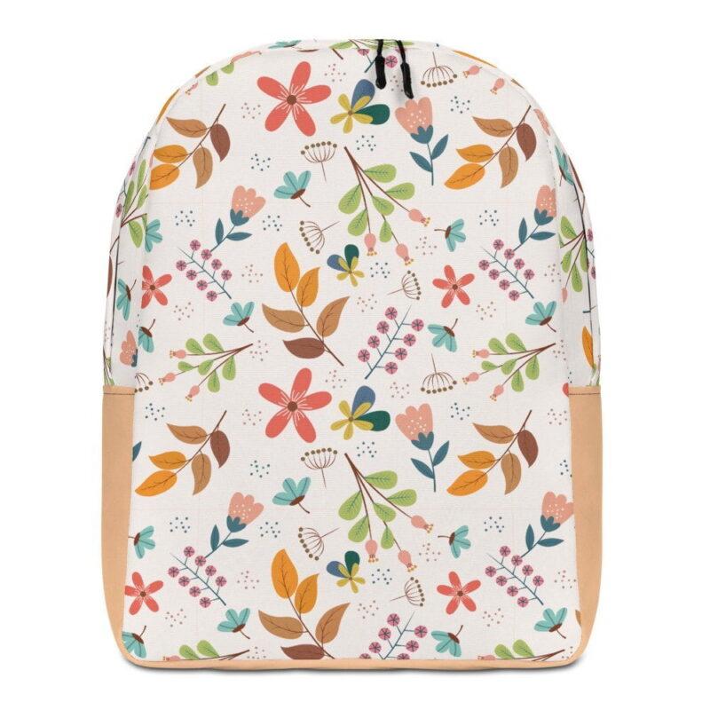 Ivory Floral Minimalist Backpack 1