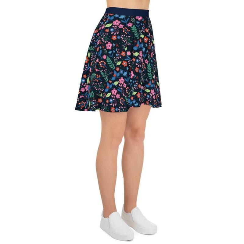 Navy Floral Printed Skater Skirt 4