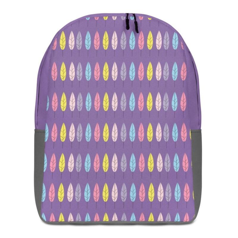 Purple Feather Minimalist Backpack 1