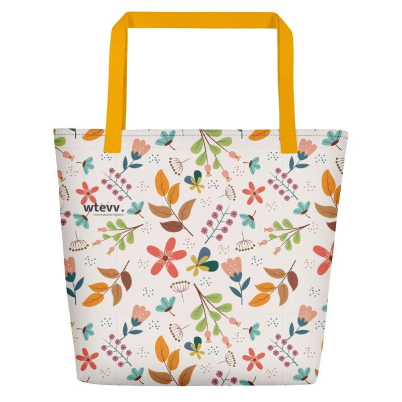 Ivory Floral Beach Bag 1