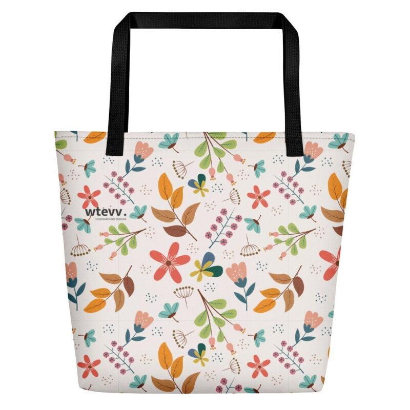 Ivory Floral Beach Bag 2