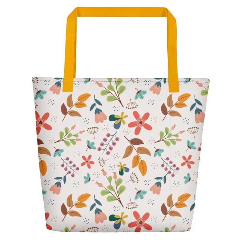 Ivory Floral Beach Bag 5