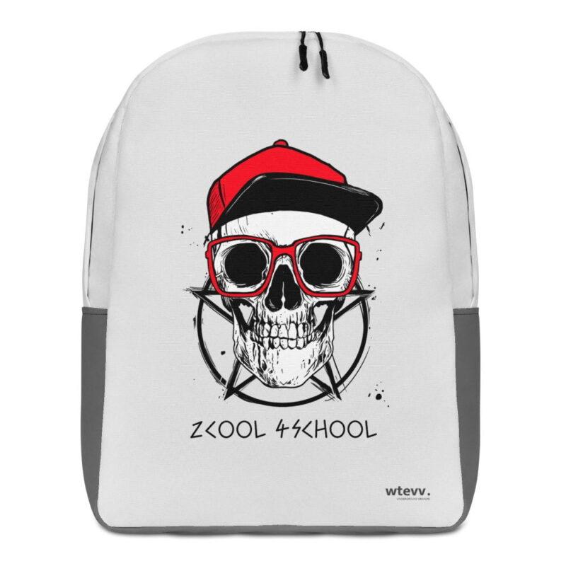 2 Cool 4 School Grey Skull Minimalist Backpack 1