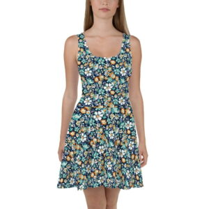 Green and Blue Floral Printed Skater Dress