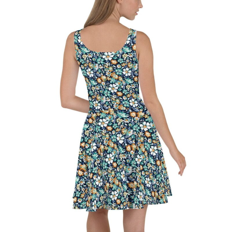 Green and Blue Floral Printed Skater Dress 1