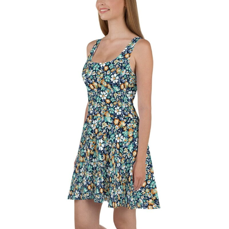 Green and Blue Floral Printed Skater Dress 2