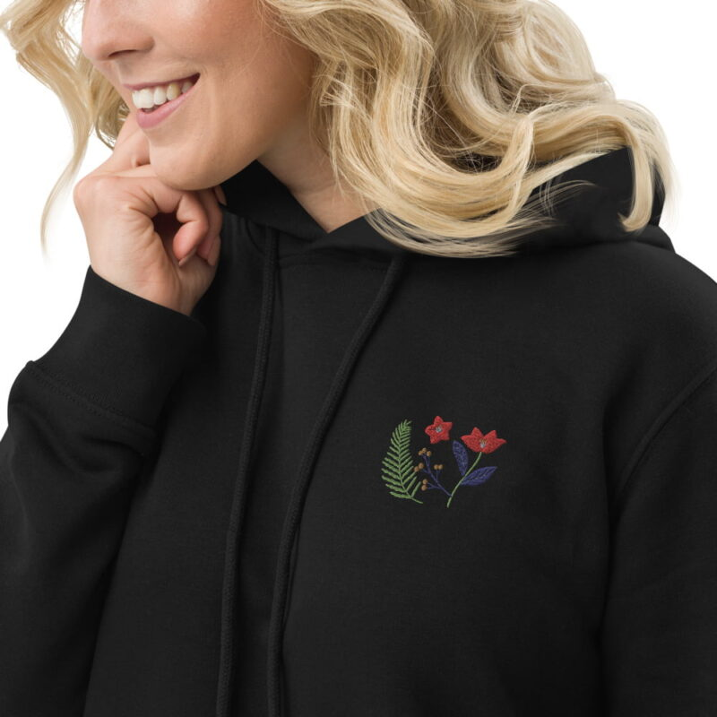 Botanical Floral Embroidered Organic Cotton Hoodie Dress 3