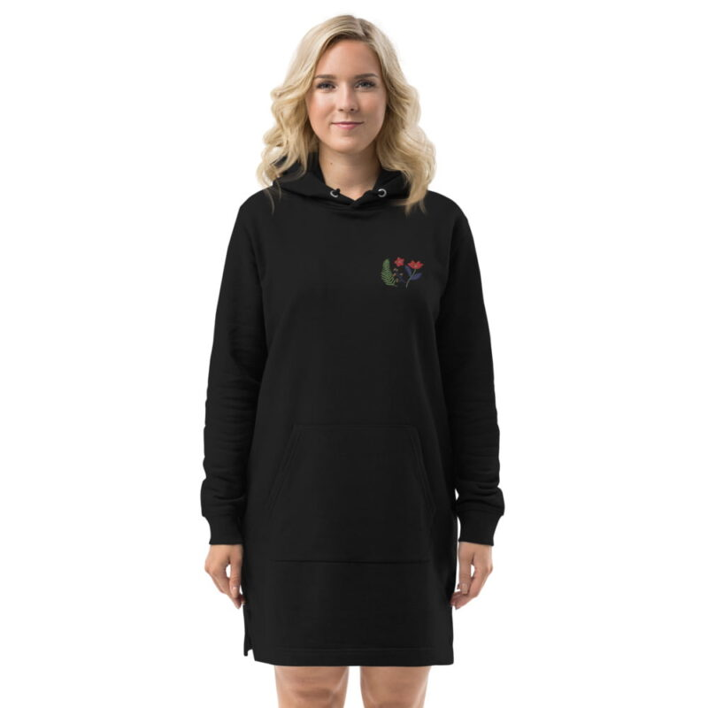 Botanical Floral Embroidered Organic Cotton Hoodie Dress 5