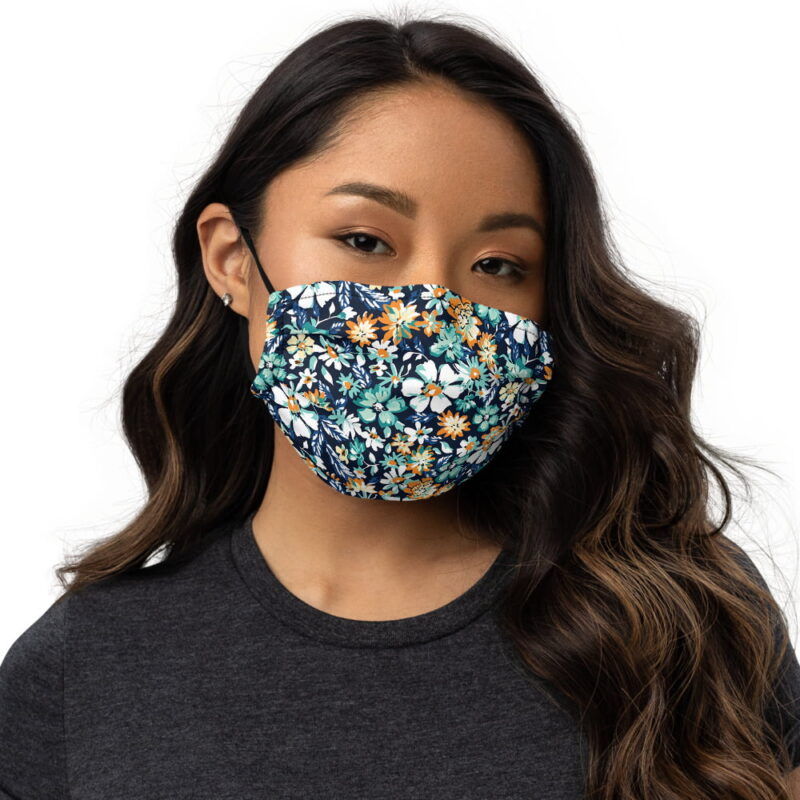 Green and Blue Floral Printed Face Mask 1