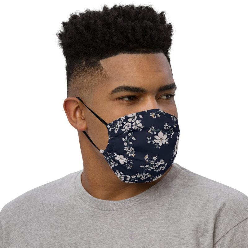 Dark Navy Floral Printed Face Mask 2