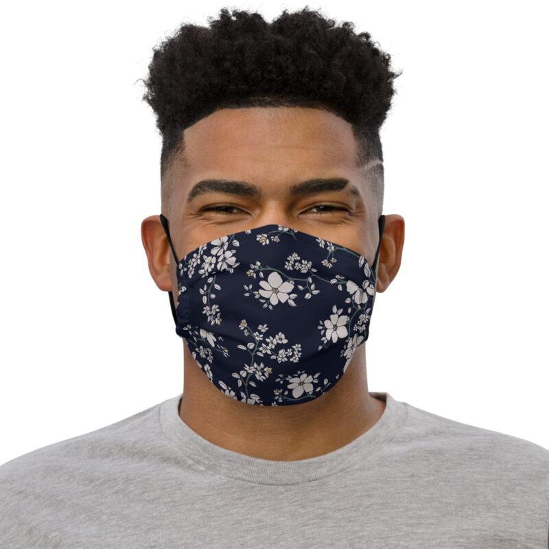 Dark Navy Floral Printed Face Mask 1