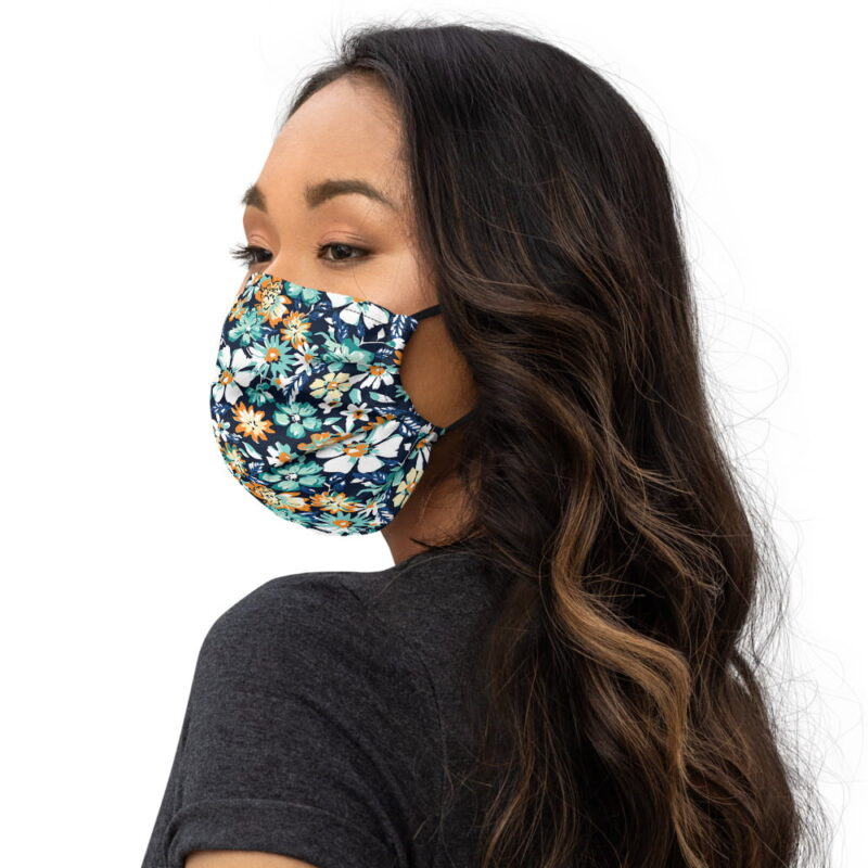 Green and Blue Floral Printed Face Mask 3