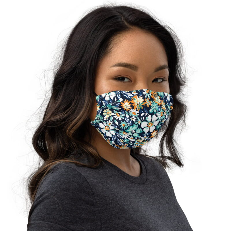 Green and Blue Floral Printed Face Mask 2