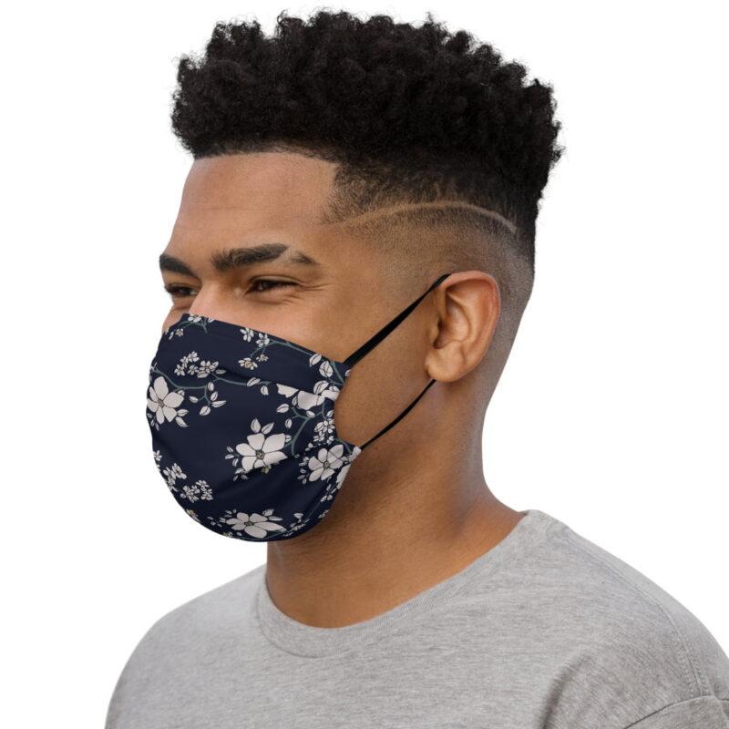 Dark Navy Floral Printed Face Mask 3
