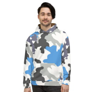 Grey and Blue Camouflage Unisex Hoodie
