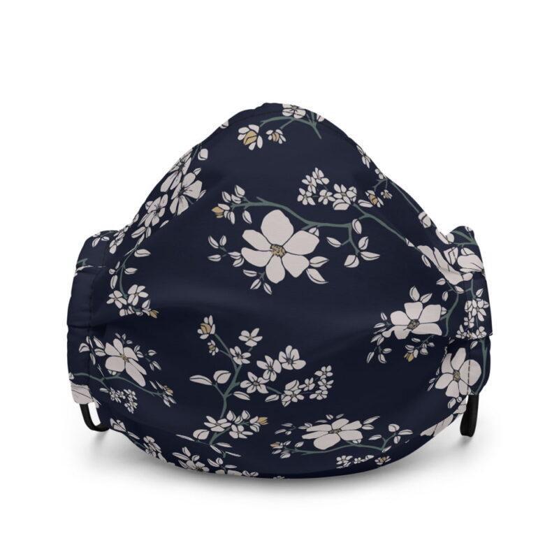 Blue Floral Premium face mask 1