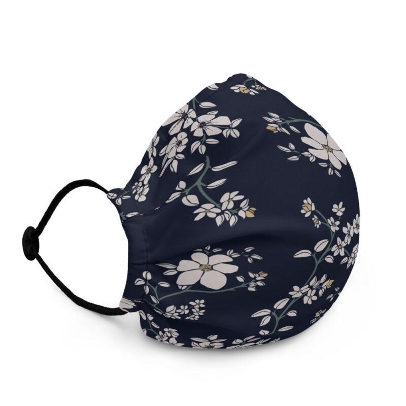 Blue Floral Premium face mask 2