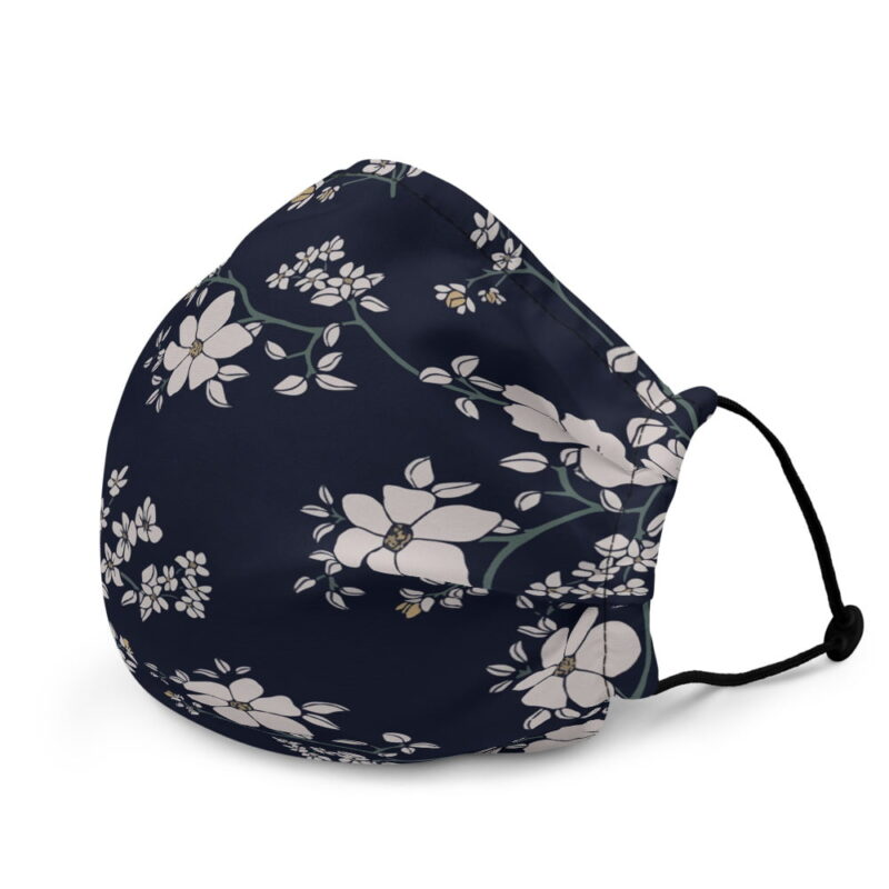 Blue Floral Premium face mask 3