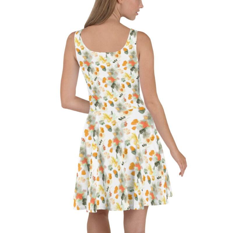 Watercolor Orange Floral Skater Dress 3