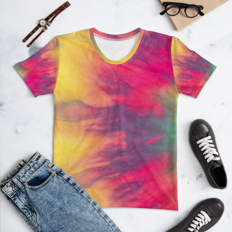 Multicolored Gradient Tie-Dye Women's T-shirt 1