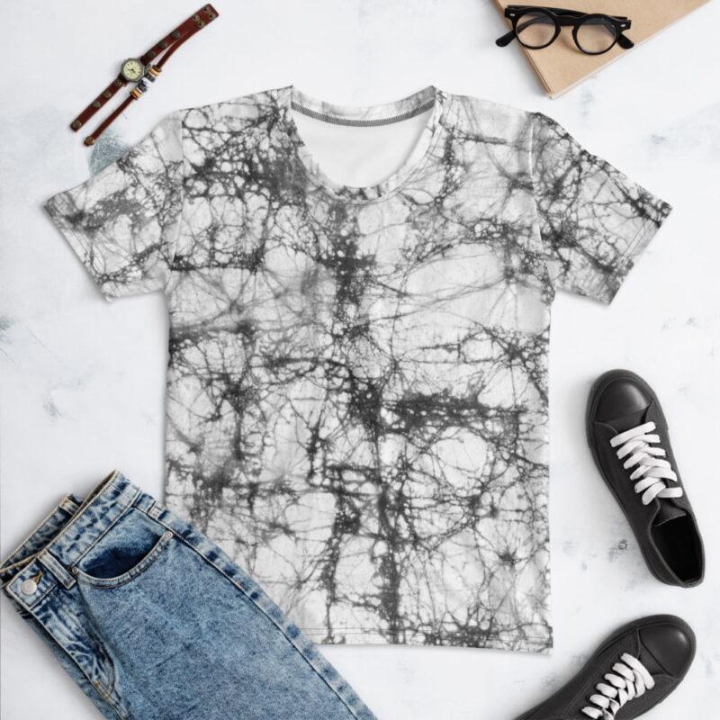Batik Tie Dye All-Over Grey Print Women's T-shirt 1