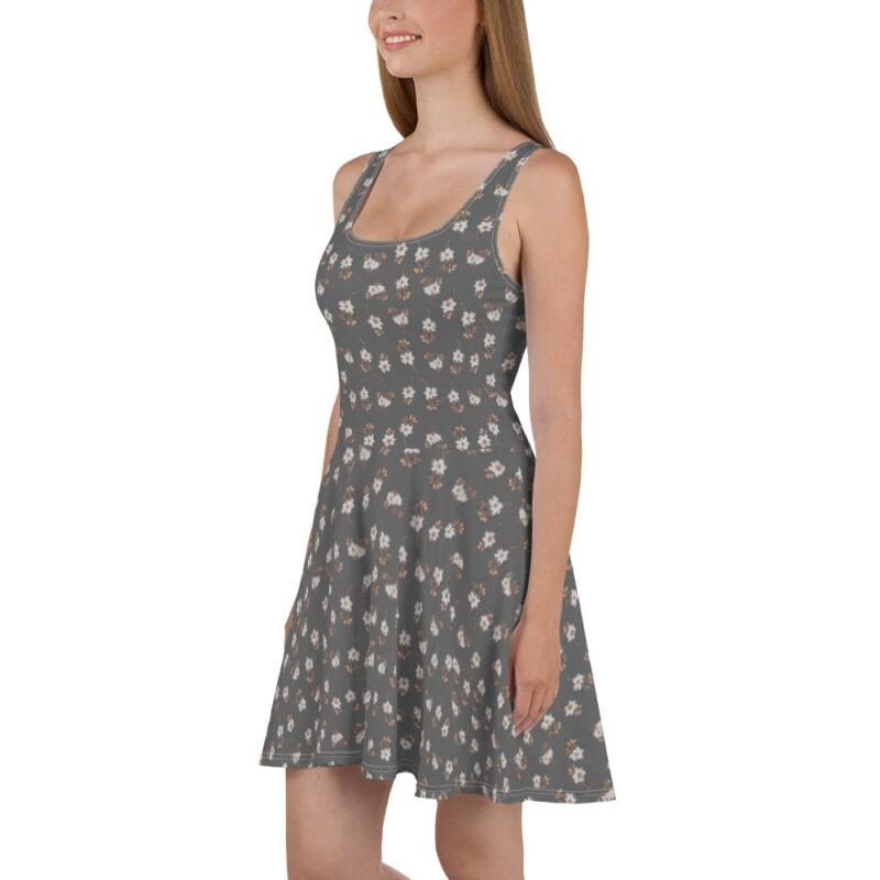 Grey Artistic Floral Print Skater Dress 4