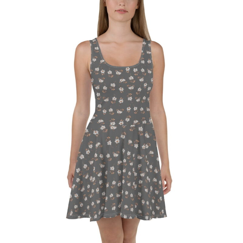 Grey Artistic Floral Print Skater Dress 1