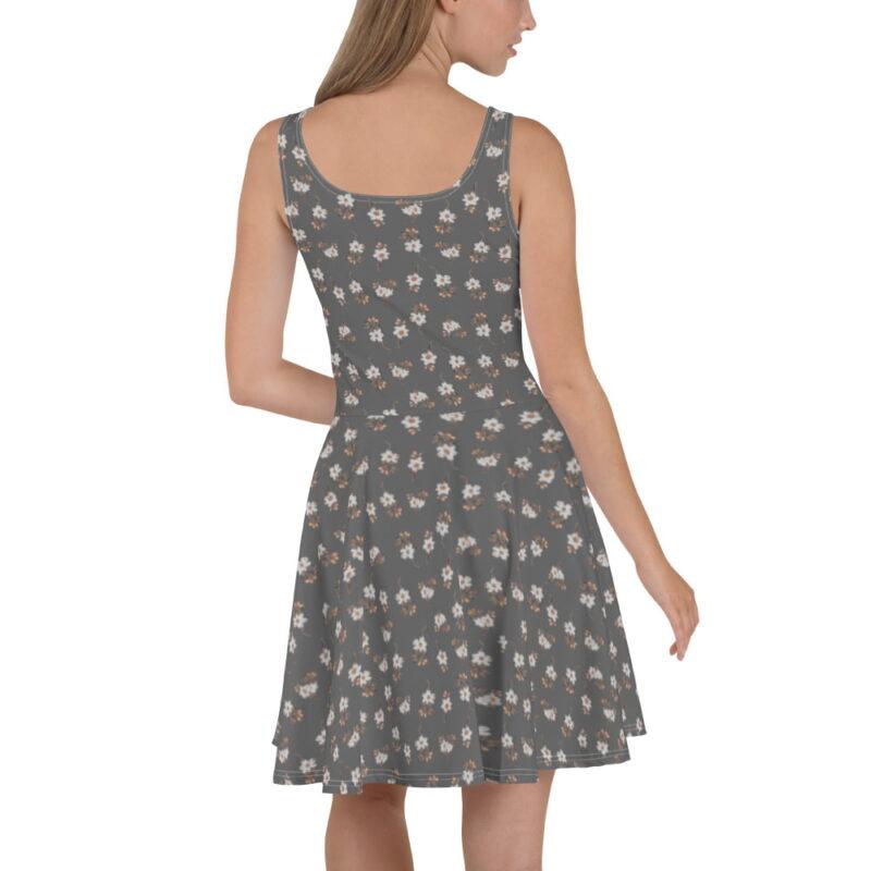 Grey Artistic Floral Print Skater Dress 2