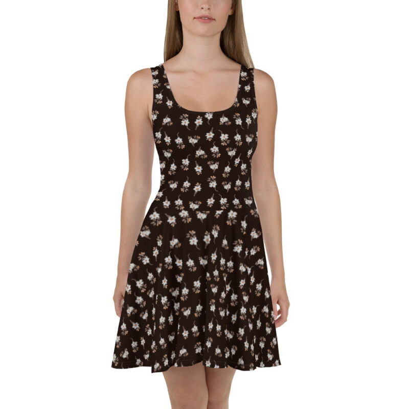 Dark Brown Artistic Floral Printed Skater Dress 2