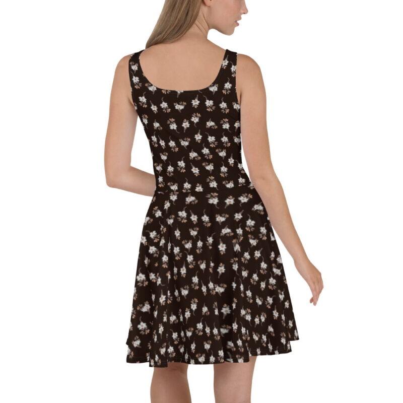 Dark Brown Artistic Floral Printed Skater Dress 3