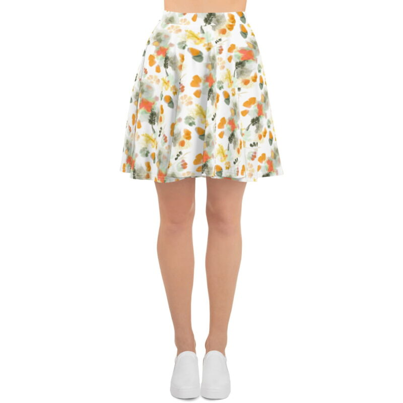Watercolor Orange Floral Skater Skirt 4