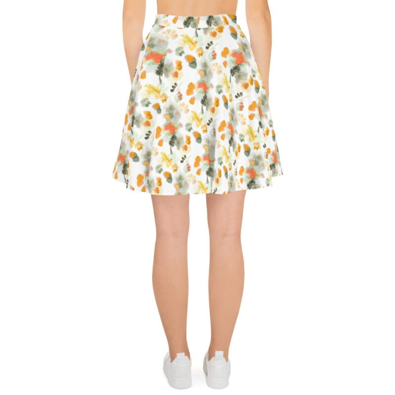 Watercolor Orange Floral Skater Skirt 1
