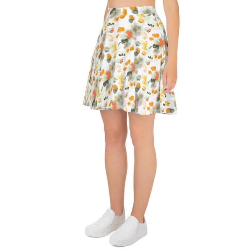 Watercolor Orange Floral Skater Skirt 2