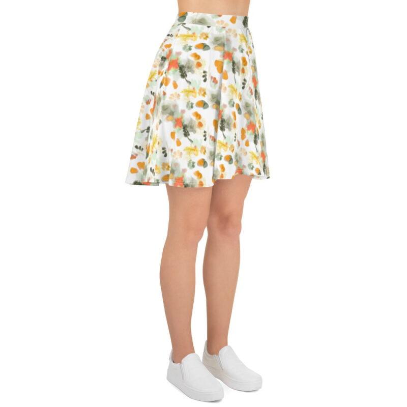 Watercolor Orange Floral Skater Skirt 3