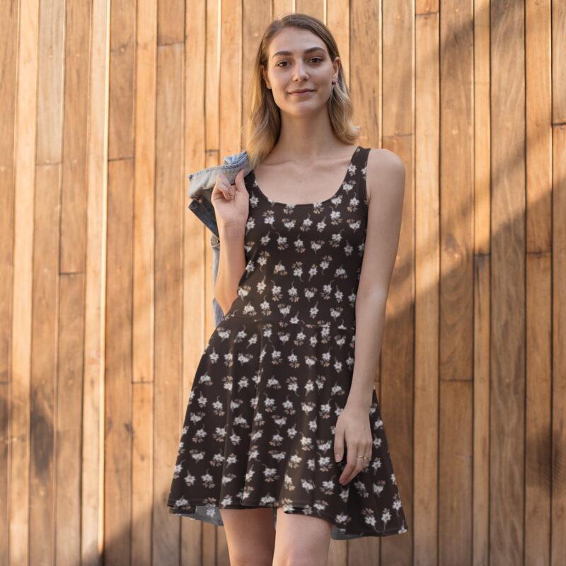 Dark Brown Artistic Floral Printed Skater Dress 1