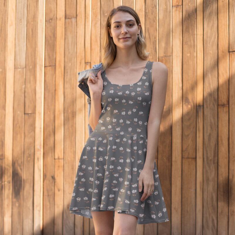 Grey Artistic Floral Print Skater Dress