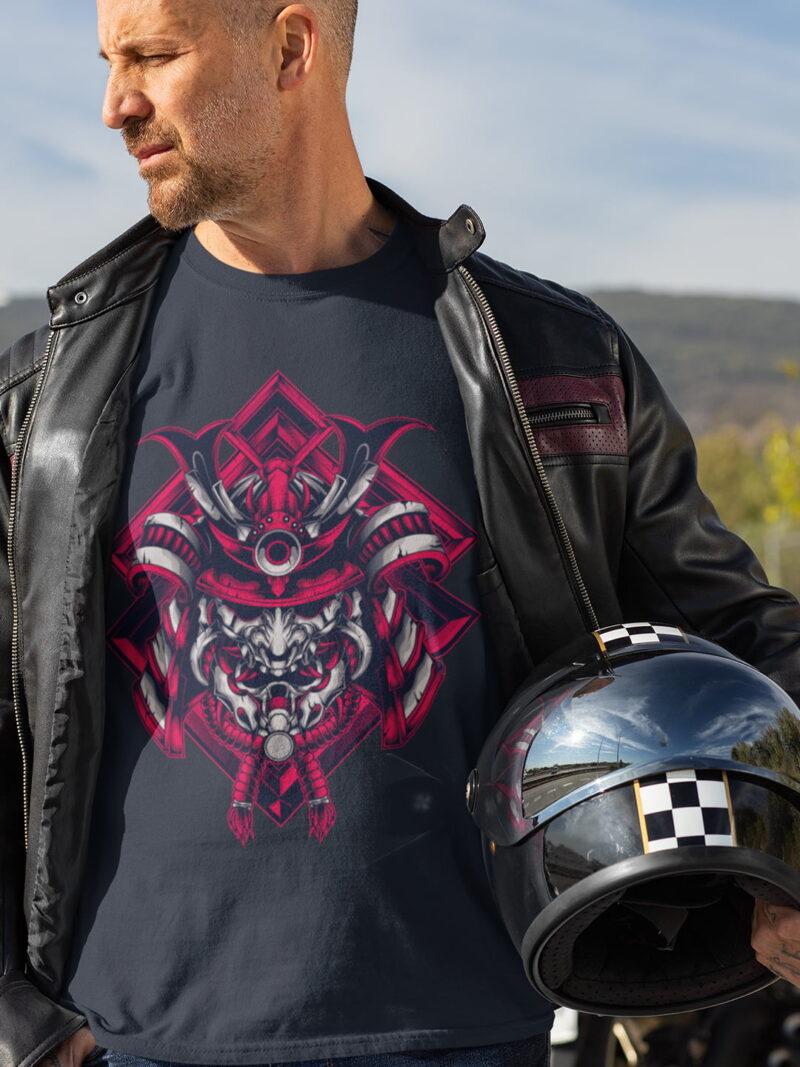 Samurai Design Short-Sleeve Unisex T-Shirt-black-white-blue