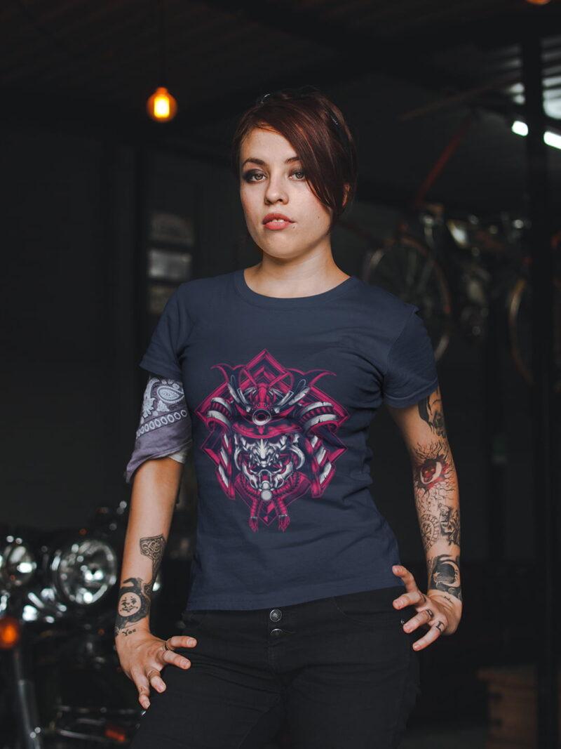 Samurai Design Short-Sleeve Unisex T-Shirt in Navy Black and White 3