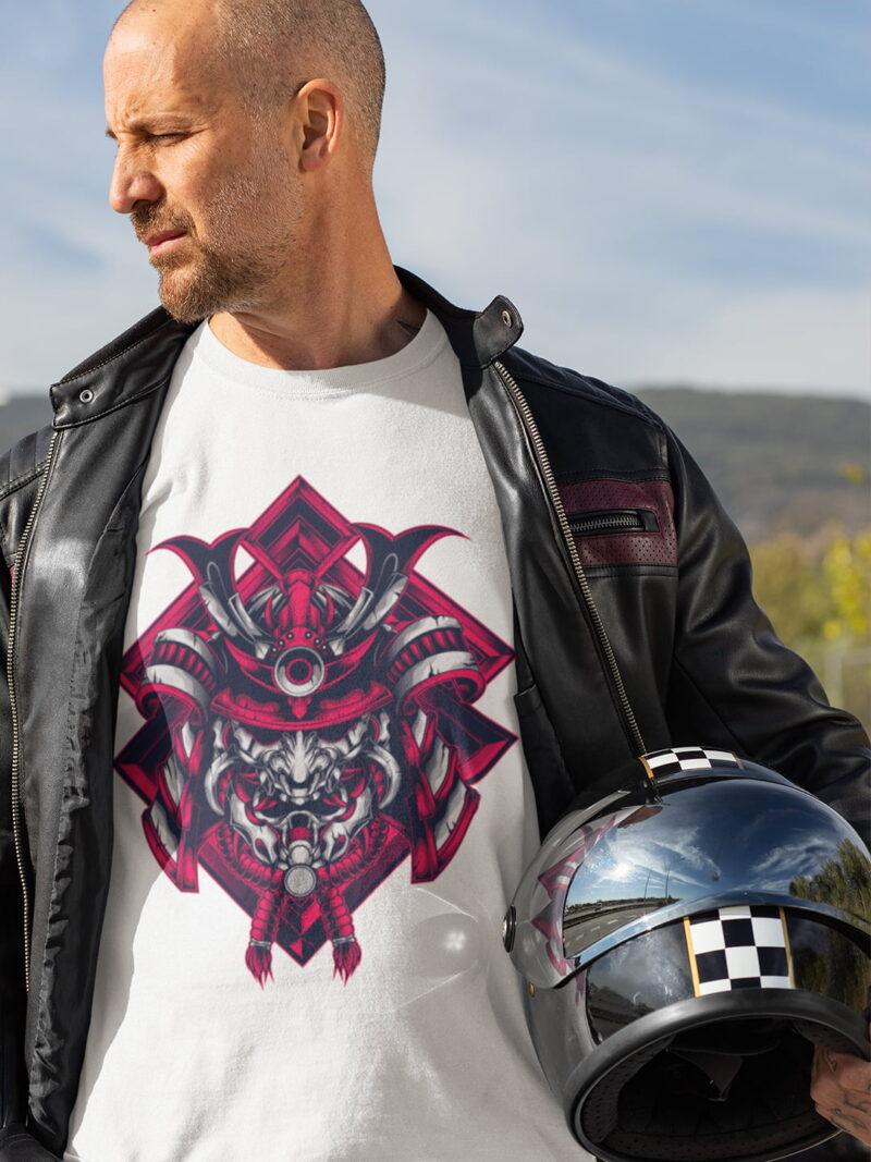 Samurai Design Short-Sleeve Unisex T-Shirt-black-white