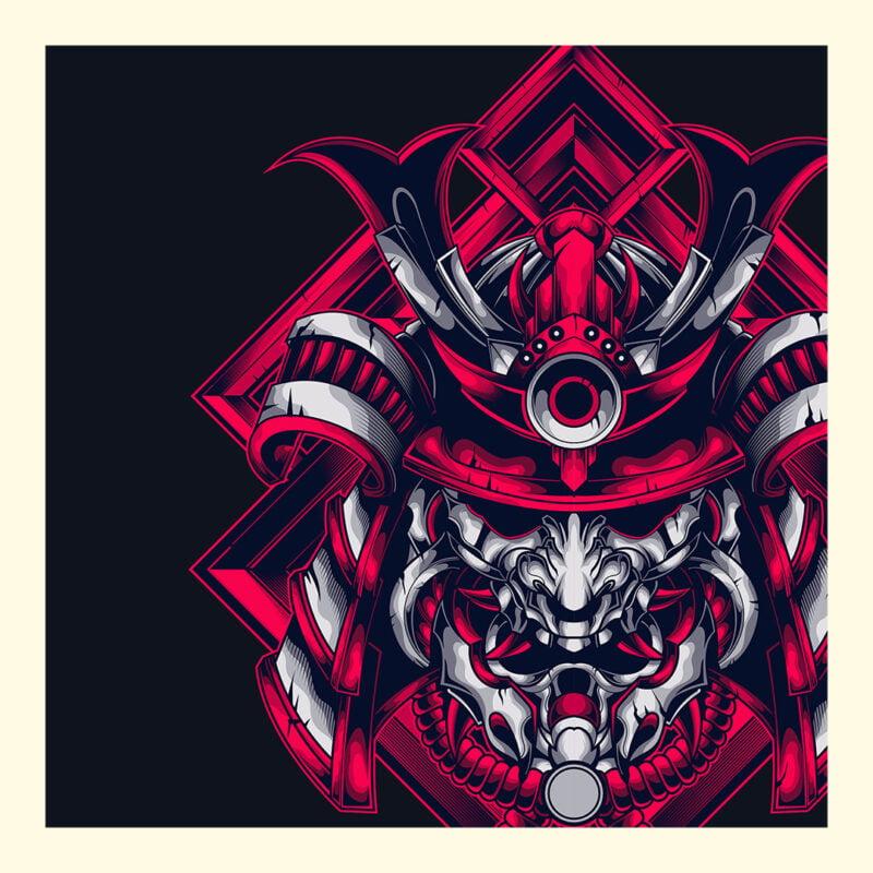 Samurai Design Short-Sleeve Unisex T-Shirt in Navy Black and White 1
