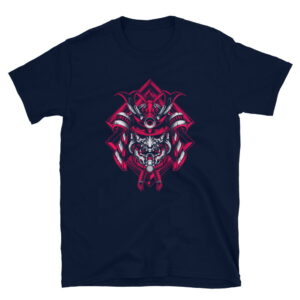 Samurai Design Short-Sleeve Unisex T-Shirt in Navy Black and White