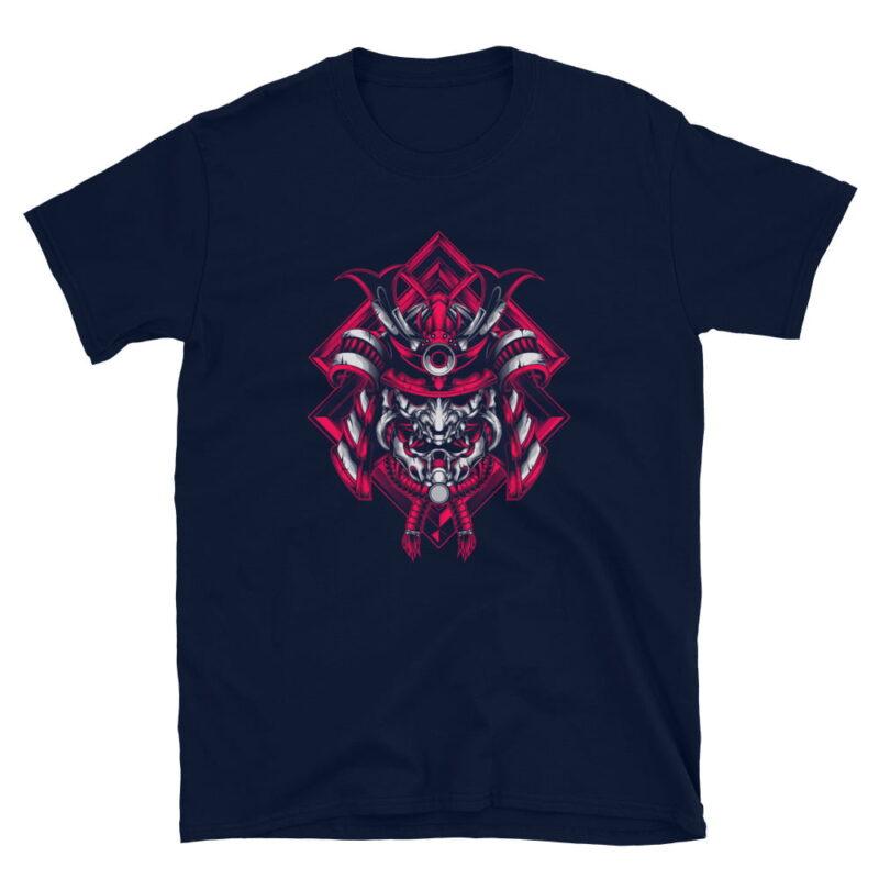 Samurai Design Short-Sleeve Unisex T-Shirt in Navy Black and White