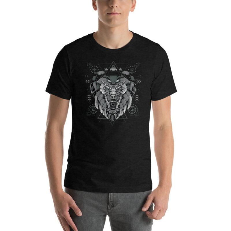 Lion-Armoured-Robot-Short-Sleeve-Unisex-T-Shirt-black