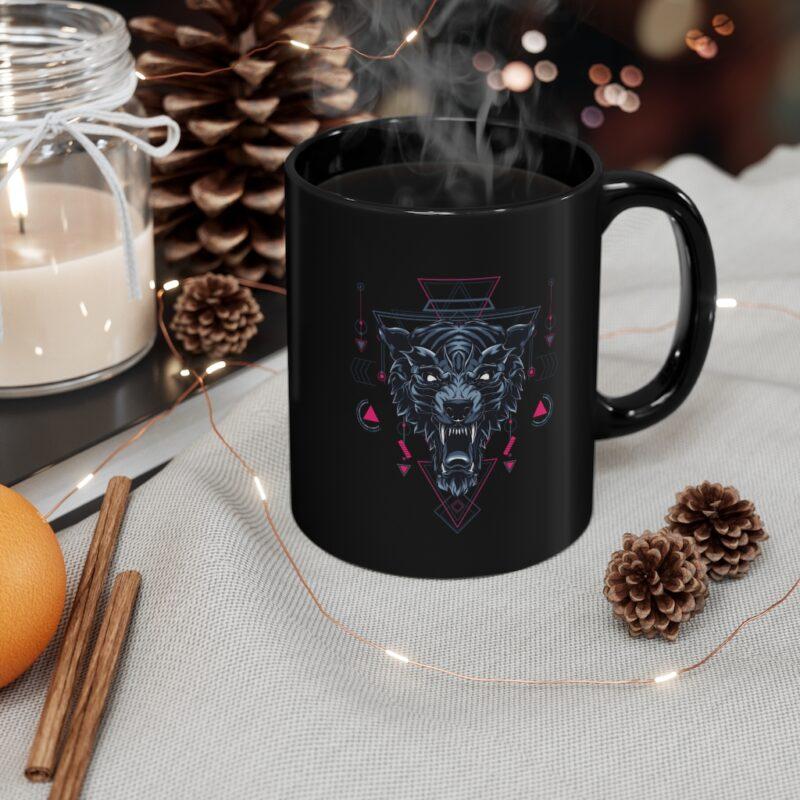 Wolf Geometry Design Black mug 11oz 1