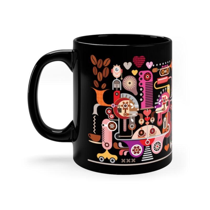 Coffee Shop Abstract Modern Art 11oz Black Mug 3