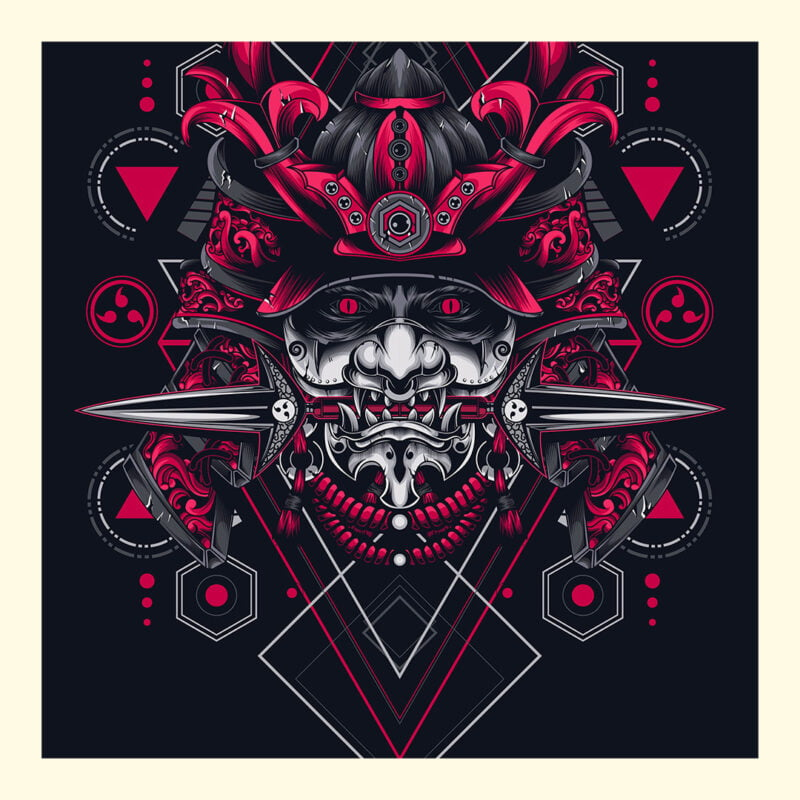 Oni Samurai Mask Geometry Art Unisex Short Sleeve Tee 2