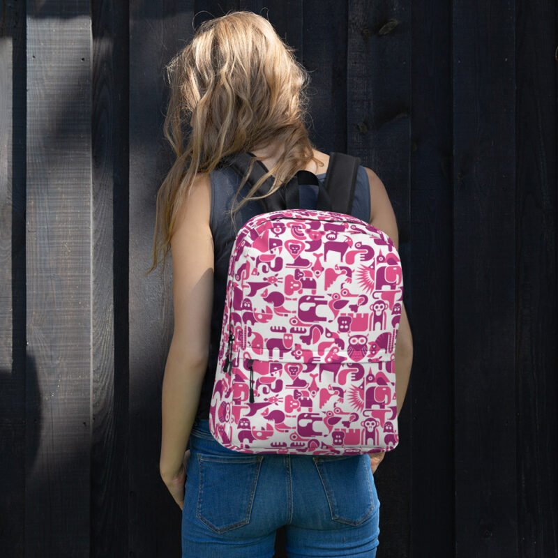 Cute Animal Purple and White Backpack 1
