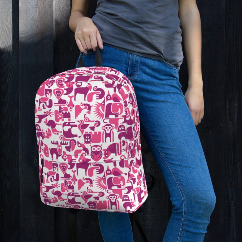 Cute Animal Purple and White Backpack 2